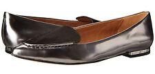 New Coach WALSH Metallic Mirror Leather Flat Slip-On Shoe Anthracite/Black 7