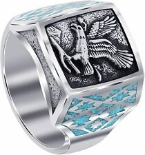 Men's Southwestern Style Turquoise Gem Eagle Silver Ring Jewelry Gift size 9