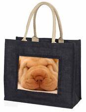 Cute Shar-Pei Puppy Dog Large Black Shopping Bag Christmas Present Ide, AD-90BLB