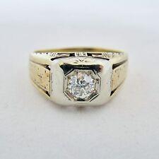 Antique 14K Gold Unisex Ring with .45 Carat Mine Cut Diamond  (5.2g, size 9.25)