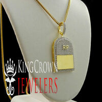 14k Yellow Gold On Sterling Silver Rest In Peace RIP Headstone Charm Necklace