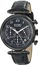 Ritmo Mundo 703/5 Black Corinthian Analog Watch Chrono 5ATM Leather Chrono Italy