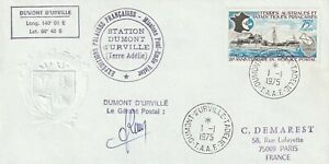 FRENCH ANTARCTIC TAAF 1975 ANNIVERSARY OF POSTAL SERVICE 75F FIRST DAY COVER CDS