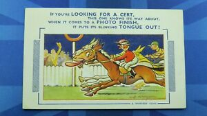Bamforth Comic Postcard 1954 Horse Racing Bet Bookie Jockey Photo Finish Cert