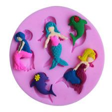Mermaids Silicone Mould Cake Fondant Chocolate Icing Baking Decor Square