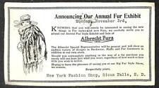 CLOTHING ALBRECHT FUR EXHIBIT SIOUX FALLS SOUTH DAKOTA ADVERTISING POSTCARD 1919