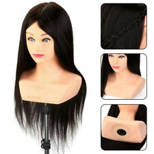 "24"" 100% Real Human Hair Mannequin Head Stand Hairdressing Training Dolls Salon"