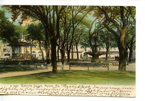 Bienville Square-Gazebo-Historic City Park-Mobile-Alabama-Vintage 1906 Postcard