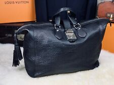 """Gucci 17"""" Large Grain Black Leather Duffle Travel Carryall Weekend Bag"""