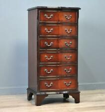 Attractive Tall Narrow Vintage Mahogany Chest Of Six Serpentine Drawers