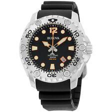 Bulova Sea King Japanese Quartz Rubber Strap Black Dial Date  Men's Watch 96B228