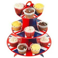 3 Tier Cup Cake Stand Reusable Union Jack Baking Display Wedding Birthday Party