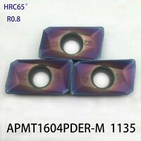 20P HRC65° APMT1604PDER -M Carbide Inserts 25R0.8 Indexable Inserts for BAP 400R