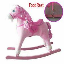 Kids Toy Pink Rocking Horse Wood Plush Wooden Riding Gift With Music UK