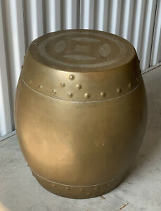 Vintage Chinese Etched Brass Garden Stool Plant Stand Side Table