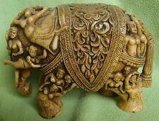 VINTAGE ELEPHANT STATUE FINE CARVING ON TOP, MADE OUT OF CAMEL BONE / MARBLEDUST