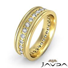 Mens Solid Ring Eternity Wedding 14k Yellow Gold Round Pave Diamond Band 0.65Ct