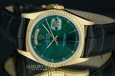 Rolex Hombres día-fecha 18238 18ct Oro Amarillo Verde Esfera 36mm - pre dueño