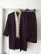 GINA BACCONI Dress Suit Purple/Nude Vintage Jacket or Blouse & Skirt UK Size 12