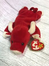 Snort Red Bull 4002 PVC 4th Generation 1995 Retired Ty Beanie Baby Collectible