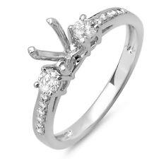 0.33 Carat 14k White Gold Diamond Ladies Engagement Semi Mount Ring Size 9