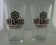 Infamous Brewery Beer Pint Glasses Craft Austin Pair Micobrew Dripping Springs