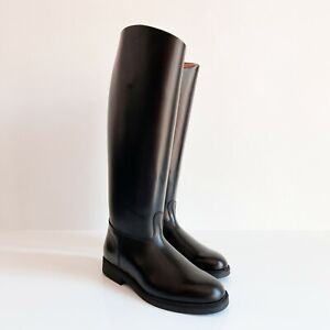 BOTTES POLICE FRENCH BIKER BOOTS MOLLET L CALF EU41 US8 UK7.5 ROB LEATHER BLUF