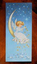 UNUSED Sweet ANGEL On Crescent Moon Spread Stars VINTAGE Christmas Card SUNSHINE