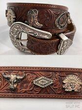Billy Belts California, Brown Leather Belt, Western Metal Stud Indians & Cowboys