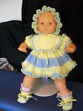 Baby Girls Dress Set Size 2M to 5M Hand Crochet Light Yellow & Light Blue