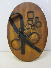 Vintage Horse Tack & Bit on Modern Wooden Oval- Wall Art #2