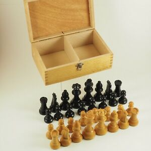 Vintage Wooden Staunton Chess Set Lowes Lardy Weighted Made In France w/Box /g
