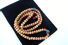 Tibetan Light Color Wood Bead Prayer Mala 8mm Black Velour Carrying Pouch C60-1