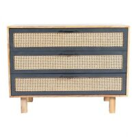 """39.5"""" W May Dresser Chest Woven Cane Drawer Fronts Hand Crafted Solid Mango Wood"""