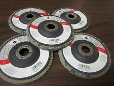 "5pc ALUMINUM OXIDE 80-GRIT 4"" SANDING GRINDING WHEEL FLAP DISC 5/8"" ARBOR ~ NEW"
