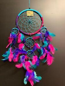 Aqua/Pink/Purple 16cm Web Coconut Bead Dream Catcher 60cm Total Length