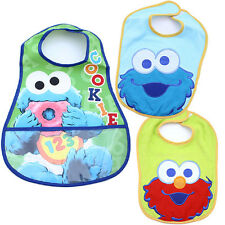 Sesame Street Baby Elmo Cookie Monster Bibs 3pc Set for Boy Terry Waterproof