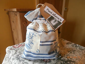 Unique Vintage French Fabric handmade bag with mini bag of French Lavender.
