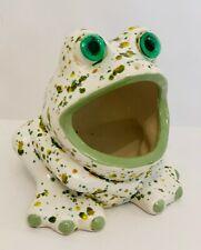 Vtg Ceramic Kitchen Sink Frog Scrubber Sponge Holder Green Speckled Glass Eyes