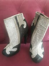 JEFFREY CAMPBELL QUIRKY FAUX LEATHER BLACK & GREY STUDDED PLATFORM ANKLE BOOTS 5