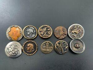 Lot of (10) Antique Vintage Metal Picture Buttons - BUTTON AUCTION #8