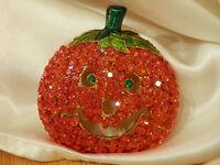 Fun Super Sparkly Orange Rhinestone Jack O Lantern Brooch Vintage 80's Lg 42n6
