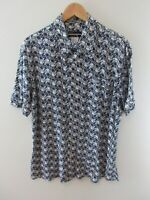 Diesel Mens Shirt Size XL Short Sleeve Button Up Regular Fit Blue Geometric