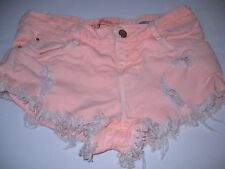 "Zara Orange denim daisy dukes BOHO distress low rise shorts Waist size 30"""