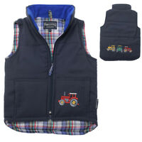Boy's Childs Embroidered Tractor Zipped Gilet Body Warmer Jacket Coat Blue Kids