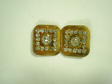Vintage Rhinestone Belt Buckle Clasp Gold Tone Clear Jewels Ladies Women's