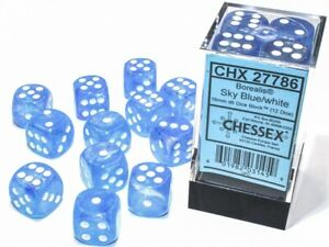 Chessex Borealis Sky Blue with White 12 Dice Set - 6 Sided 16mm d6 Luminary Glow