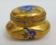 Vtg ROCHARD Gold Gilt BUTTERFLY Floral LIMOGES Hinged Trinket Box Ink Pot FRANCE