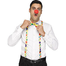 Clown Suspenders & Nose & Tie Set Funny Adult Halloween Costume Accceossories