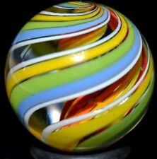 "JODY FINE HANDMADE GLASS MARBLE/.882""-TRIPLE CARNIVAL CUBSCOUT-LUTZ,ROYAL,YELLOW"
